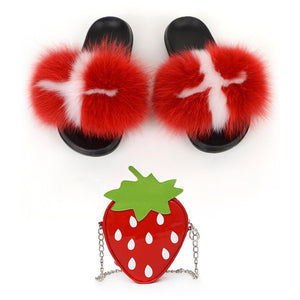 Lovely Girls Fox Fur Slippers Cute Fruits Strawberry Shoulder Bags Sets Women's Real Fox Hair Furry Slides Ladies Party Purse