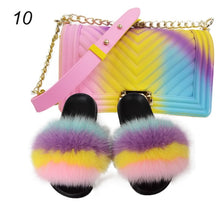 Load image into Gallery viewer, 100% Real Fox Fur Slippers Women Slippers Rainbow Shoe Cute Fur Flip Female Travel Furry Shoes Jelly Bags Set Fashion Bag