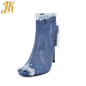 JK Big Size 33-40 Summer Denim Ankle Women Boots Peep Toe Thin Heels Holed Footwear Ripped Sexy Fashion Spring Women Shoes