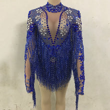 Load image into Gallery viewer, Ailigou Blue Silver Rhinestones Transparent Fringe Bodysuit Birthday Celebrate Long Sleeves Dance Bar Women Singer Outfit