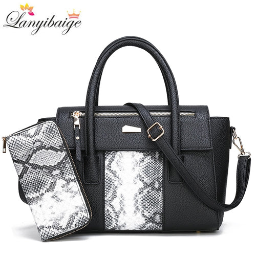 2 Sets Snake pattern Women Handbags High Quality pu Leather Handbags Fashion Crossbody Bags for women 2019 Purses and Handbags