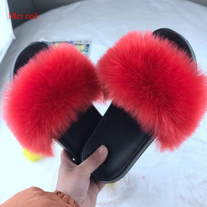 New Fur Women Slippers Shoes 2020 Ladies Slippers Outdoor Slides Ladies Furry Beach Flip Flops Fluffy Women Shoes Size Plus 43