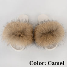 Load image into Gallery viewer, Fur Slides Women Fluffy Sandals Summer Woman Shoes Flat Plush Furry Slippers House Fuzzy Flip Flops Luxury 2020 Wholesale Mujer
