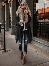 Load image into Gallery viewer, Women Big Fur Collar Cardigan Plush Trench Full Sleeve Turn-down Collar windbreaker Open Stitch Coats  Women's Clothing