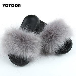 Women Fake Fox Fur Slippers Ladies Faux Raccoon Fur Slides Female Artificial Fluffy Furry Flip Flops Girls Beach Casual Sandals