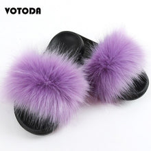 Load image into Gallery viewer, Women Fake Fox Fur Slippers Ladies Faux Raccoon Fur Slides Female Artificial Fluffy Furry Flip Flops Girls Beach Casual Sandals