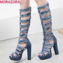 Load image into Gallery viewer, MORAZORA 2020 hot sale knee high boots women denim summer boots high heels platform shoes hollow out punk prom boots female