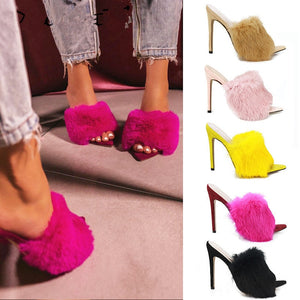 Luxury Furry Slide Sandals Shoes Woman 2020 Summer Fluffy Fur High Heels Peep Toe Pumps Women High Heel Female Sexy Wedding Shoe
