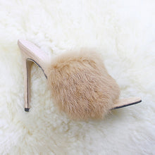 Load image into Gallery viewer, Luxury Furry Slide Sandals Shoes Woman 2020 Summer Fluffy Fur High Heels Peep Toe Pumps Women High Heel Female Sexy Wedding Shoe