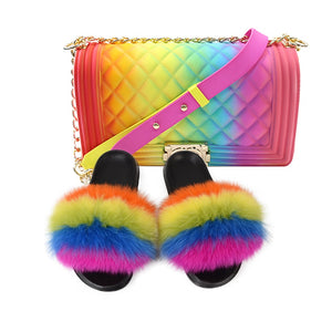 100% Real Fox Fur Slippers Women Slippers Rainbow Shoe Cute Fur Flip Female Travel Furry Shoes Jelly Bags Set Fashion Bag