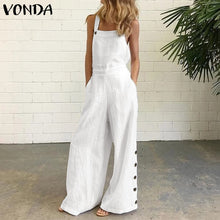 Load image into Gallery viewer, Women Summer Sexy Sleeveless Rompers 2020 VONDA Casual Loose Solid Color Party Playsuits Femme Office Overalls 5XL Jumpsuits
