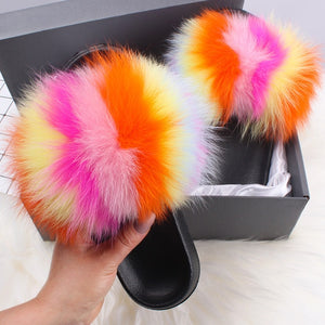 Real Fox Fur Women' Fox Fur Slippers Beautiful Fluffy Slides Home Plush Furry Rainbow Slippers Colorful Shoes Summer Flip Flops