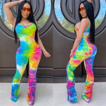 Load image into Gallery viewer, Tie Dyeing Print Jumpsuit Rompers 2020 Sexy Women Strap Flare Pants Stacked Joggers Pleated Pants Trousers Sports Slim Jumpsuit