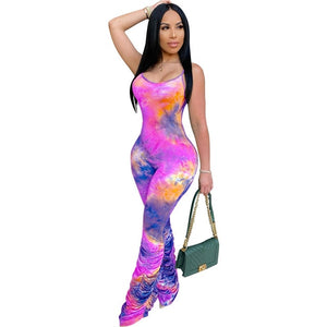 Tie Dyeing Print Jumpsuit Rompers 2020 Sexy Women Strap Flare Pants Stacked Joggers Pleated Pants Trousers Sports Slim Jumpsuit
