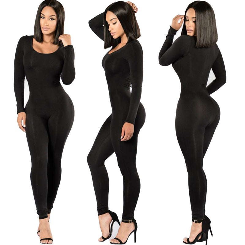Sexy Black Overalls For Women Bodycon Jumpsuits Body Plus Rompers Womens Jumpsuit Simple Combinaison Femme Playsuit Long Macacao