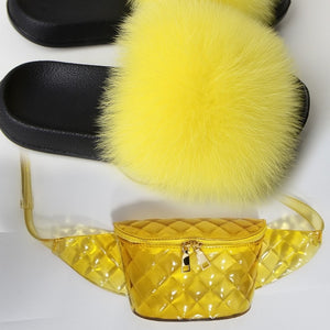 Beautiful Fur Slides and Bags Fashion Ladies Slippers and Waist Bag Soft EVA Fox Fur Sandals Fluffy Furry Slides Big Size 36-45