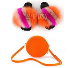 Load image into Gallery viewer, Summer Women Real Fox Fur Slippers Furry Fur Slides Rainbow Jelly Bags Sweet Plush Slippers Ladies Party Shoe Brand slippers