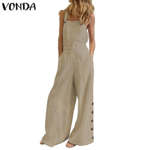 Women Summer Sexy Sleeveless Rompers 2020 VONDA Casual Loose Solid Color Party Playsuits Femme Office Overalls 5XL Jumpsuits
