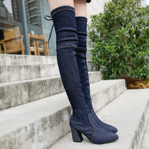women boots high heels 2019 women's Sexy Over The Knee women boots heel shoes Lace-Up High heel women boots hjm89