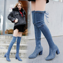 Load image into Gallery viewer, women boots high heels 2019 women's Sexy Over The Knee women boots heel shoes Lace-Up High heel women boots hjm89