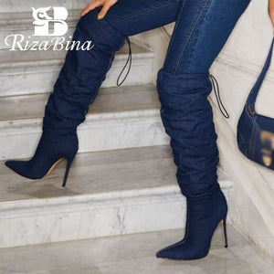 RIZABINA Sexy Women'S Knee Boots Fashion Lace Up Thin High Heels Shoes For Women Good Quality Warm Lady Footwear Size 35-43