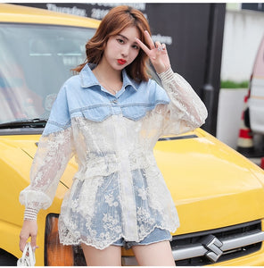 2020 New Summer Long Sleeve Large Size Jeans Jackets Women's Coat Loose Lace Stitching Perspective top Jacket Ladies denim coat
