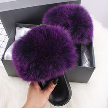 Load image into Gallery viewer, Woman Amazing Shoes  Real Fox And Raccon Fur Flip Flop Flat Furry Female Summer Outer Wear Fashion Flat Wild Red Sandals Fur