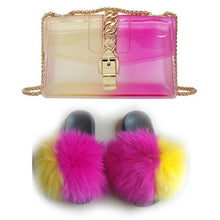 Load image into Gallery viewer, Summer Fur Slides and Bags Set Fashion Woman Fox Fur Slippers Purse Multicolor Open Toe EVA Furry Purses Slides Wholesale