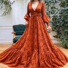 Load image into Gallery viewer, Turkish Couture Lace Celebrity Dresses Deep V-Neck Formal Runaway Red Carpet Dresses Fashion Show Gowns Woman Photography Robe