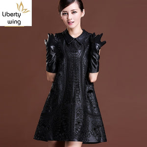Top Brand Women Winter Sheepskin Genuine Leather Black Floral Embroidery Lolita Dresses Party Sexy Mini Sleeveless Dress