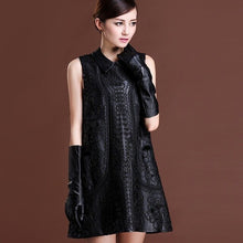 Load image into Gallery viewer, Top Brand Women Winter Sheepskin Genuine Leather Black Floral Embroidery Lolita Dresses Party Sexy Mini Sleeveless Dress