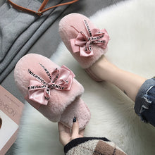 Load image into Gallery viewer, Fashion Bowknot Pink Skin Well Fur Indoor Slippers Women Japanese Style Winter Warm Women Furry Slippers Cute House Shoe Loafers