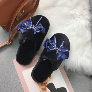 Fashion Bowknot Pink Skin Well Fur Indoor Slippers Women Japanese Style Winter Warm Women Furry Slippers Cute House Shoe Loafers