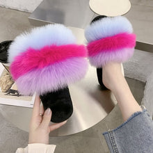 Load image into Gallery viewer, New Fur Women Slippers Shoes 2020 Ladies Slippers Outdoor Slides Ladies Furry Beach Flip Flops Fluffy Women Shoes Size Plus 43