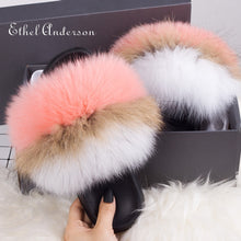 Load image into Gallery viewer, Hot Lady Fur Slippers Rainbow Fur Slides Plush Genuine Fox Raccoon Slippers Slides Hot Best Quality Furry Flip Flop Fluffy Fury