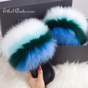 Hot Lady Fur Slippers Rainbow Fur Slides Plush Genuine Fox Raccoon Slippers Slides Hot Best Quality Furry Flip Flop Fluffy Fury