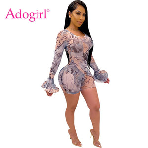 Adogirl Sexy Print Sheer Mesh Short Jumpsuit O Neck Flare Long Sleeve Bodycon Playsuit See Through Romper Fashion Club Outfits