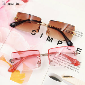 Fashion Rectangle Rimless Sunglasses Female Square Luxury High Quality Women Sun Glasses Pink Brown Shades Men Eyewear UV400 New
