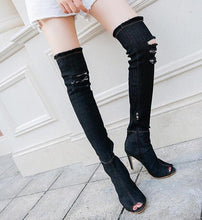Load image into Gallery viewer, Fashion Autumn Women High Heels thigh high boots Female Shoes Hot Over The Knee Boots Peep Toe Cowboy Boots Denim shoes 785