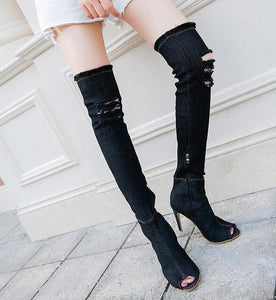 Fashion Autumn Women High Heels thigh high boots Female Shoes Hot Over The Knee Boots Peep Toe Cowboy Boots Denim shoes 785