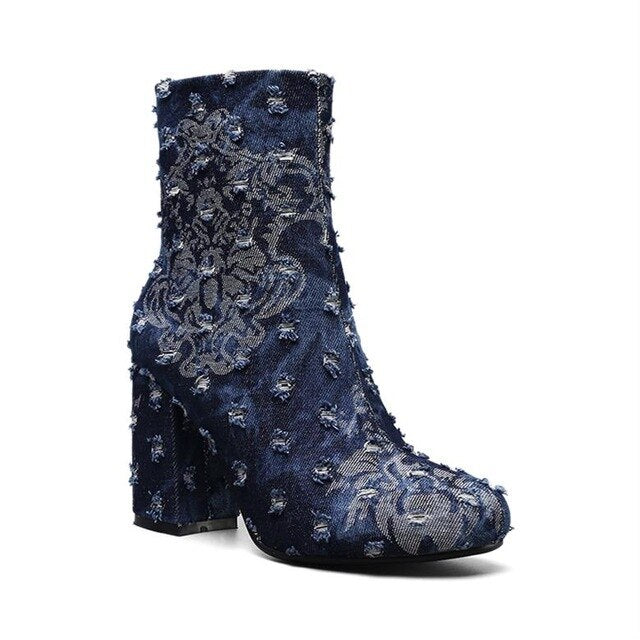 Perixir Autumn Winter Women Snkle Boots Blue Flowers Print Broken Denim Round Toe High Heels Fashion Ladies Martin Boot Shoes