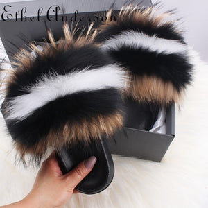Hot Sale 100% Real Fox Raccon Fur Fluffy Flat Slipper Lady Indoor Slides Furry Young Girl Casual Woman Shoes Fashion Summer 2020