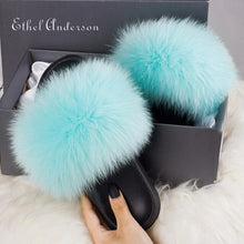 Load image into Gallery viewer, Hot Sale 100% Real Fox Raccon Fur Fluffy Flat Slipper Lady Indoor Slides Furry Young Girl Casual Woman Shoes Fashion Summer 2020