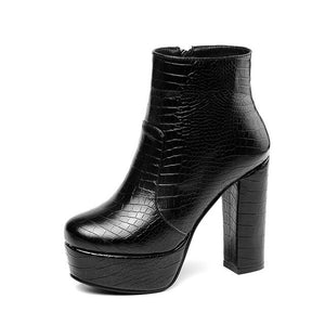 Gdgydh Brand Black Leather Pu Ankle Boots For Women Platform Shoes High Heels Snake Booties Female Winter Footwear Plus Size 43