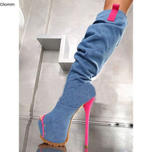 Load image into Gallery viewer, Olomm New Fashion Women Platform Mid-calf Boots Sexy Thin High Heels Boots Nice Peep Toe Blue Casual Shoes Women US Size 5-15