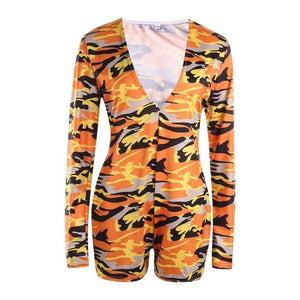 2020 Hot Sale Women Sexy Stretchy Pajamas Long Sleeve V-Neck Pineapple Star Printed Bodycon Summer Lady Jumpsuit