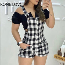 Load image into Gallery viewer, Women Gingham Print Wide Strap Romper Summer Sexy Romper