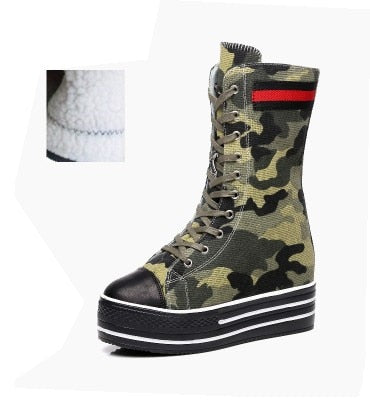 Cowboy camouflage Fashion Wedges Platform Females Girl Lady Mid Calf Women Boots Height Increasing 10CM Punk Chain Denim Shoes
