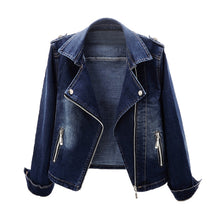 Load image into Gallery viewer, Autumn Women's Denim Jacket Coat New Fashion Slim Stretch Suit Collar Jeans Outerwear Female Short Motorcycle Jacket Tops AH164