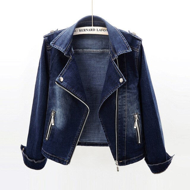Autumn Women's Denim Jacket Coat New Fashion Slim Stretch Suit Collar Jeans Outerwear Female Short Motorcycle Jacket Tops AH164